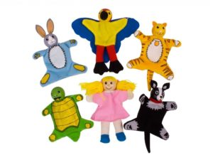 marionetta da dito , animali da compagnia, cane, gatto, coniglio, tartaruga e pappagallo , finger puppet, pet, dog, cat, rabbit, turtle and parrot,bigjigs toys