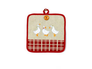 presina con ochette,accessori da cucina con papere,oggettistica con papere vendita online,potholder with geese, ducks with kitchen accessories, gifts with ducks sale online,
