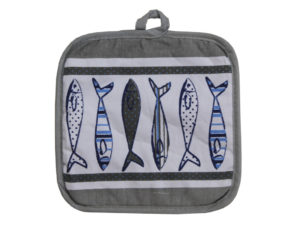 fish potholder kitchen, kitchen accessories, accessori da cucina con soggetti marini , mare ,sole ,sardine, acciughe