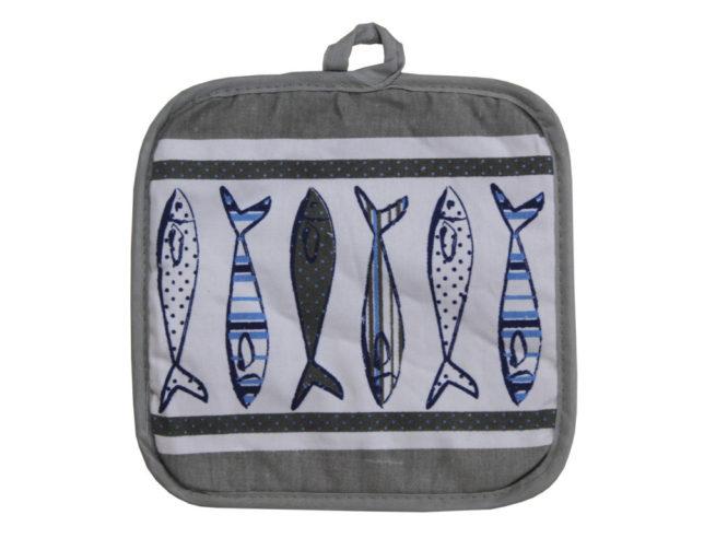 fish potholder kitchen, kitchen accessories, accessori da cucina con soggetti marini , mare ,sole ,sardine, acciughe