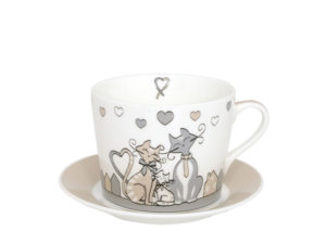 tazza e piatto con gatto, accessori da cucina spiritosi e allegri, cup and plate with cat, kitchen accessories witty and cheerful