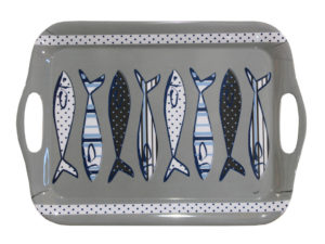 tray with marine subjects, accessori da tavola con soggetto marino , con pesciolini stilizzati, mare