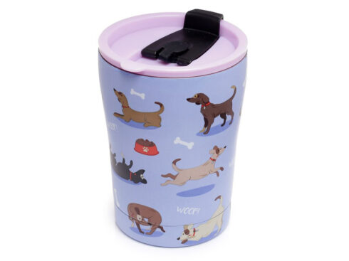 tazza termica riutilizzabile, ecologica con cani, puckator