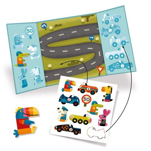 adesivi attacca e stacca riposizionabili per bambini piccoli, giocattoli djeco, dj09073