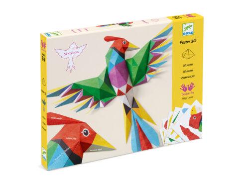 poster creativo in 3d, pappagallo tridimensionale, giocattoli djeco,dj09448