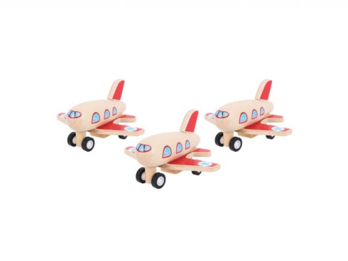 aereo in legno a carica manuale, plane wood hand-wound,bigjigs toys
