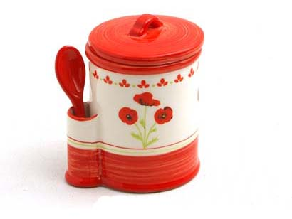 jar with teaspoon poppy, portaspezie , cucina colorata, rosso papavero tulipano
