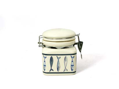 airtight jar fish, accessory for kitchen, accessori per cucine spiritose e allegre con soggetti marini pesciolini , sardine