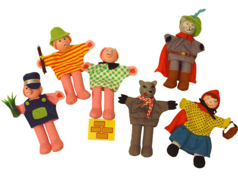 marionetta da dito, cappuccetto rosso , tre porcellini, gatto con gli stivali, finger puppet, Little Red Riding Hood, Three Little Pigs, Puss in Boots,bigjigs toys