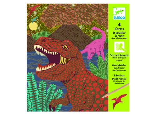 carte da grattare gratta e scopri il disegno nascosto, dinosauri, dj09726