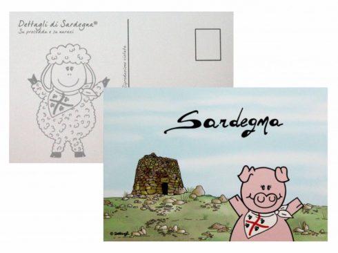 cartolina postale maialetto sardo,souvenir della sardegna, creazioni dettagli cagliari,Sardinian suckling pig postcard, souvenir of Sardinia, Cagliari details creations,