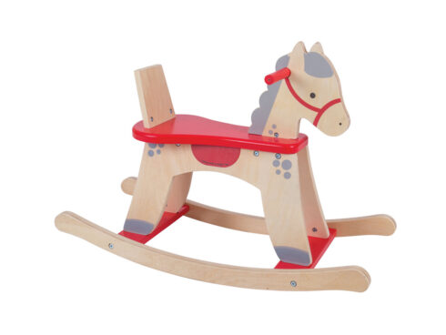 wooden rocking horse, cavallino a dondolo in legno, regalo ideale per battesimo