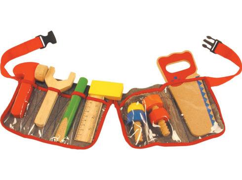 cintura con attrezzi da carpentiere per bambino, martello cacciavite pinze in legno, belt with carpenter tools for children, wooden hammer pliers screwdriver
