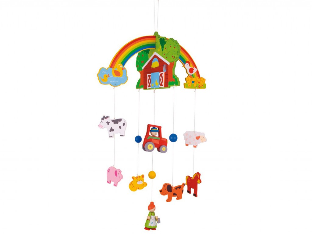 giostra per culla per neonati , animali della fattoria, idea regalo per bambini appena nati,carousel for babies, farm animals, gift idea for newborn babies,bigjigs toys
