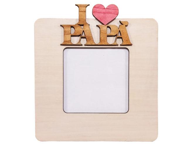 cornice portafoto in legno per il papà, i love papà, festa del papà,dettagli cagliari