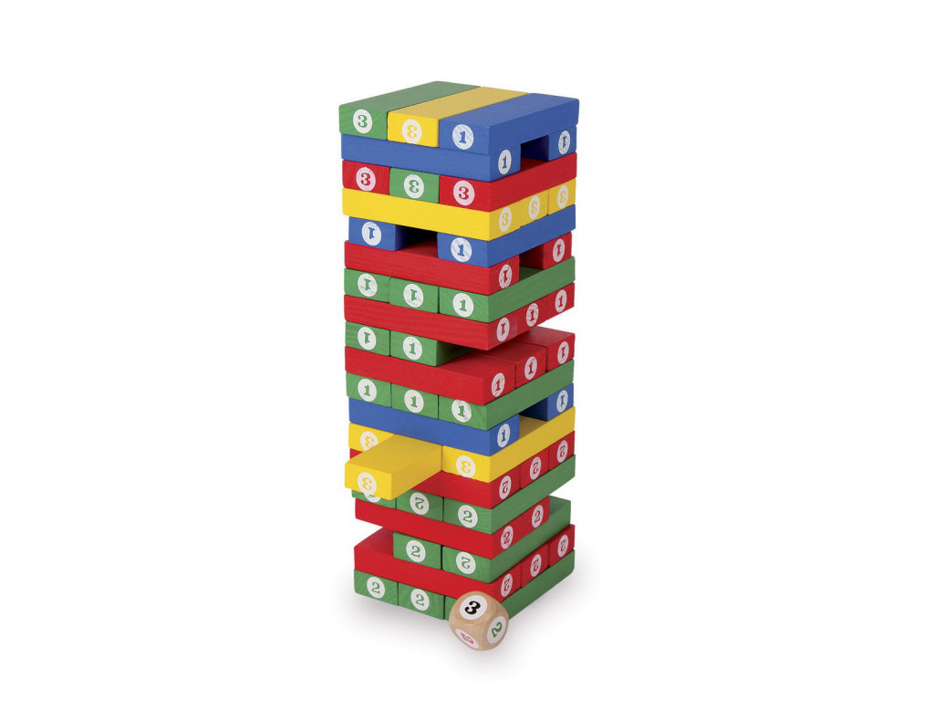 game of skill, jenga tower shaky torre traballante gioco da 3 a 99 anni, torre dei numeri , gioco d'abilità