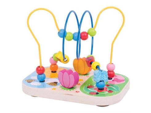 labirinto con spirale e palline , gioco per la manualità