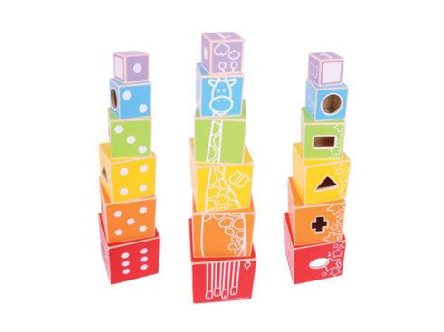 piramide di cubi, cubi da impilare , riconoscimento colore ,numeri, equilibrio