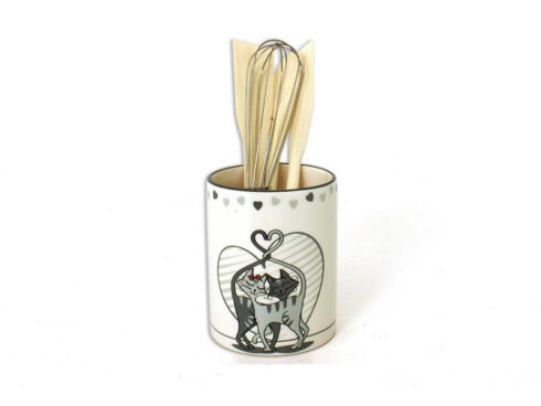 porta mestoli decorato con gatti, accessori da cucina con micio, ladles door decorated with cats, kitchen accessories with cat