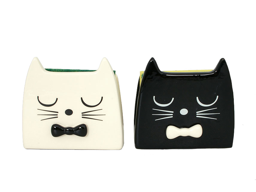 porta spugnetta porta tovaglioli con gatto nero,door sponge napkin holder with black cat,