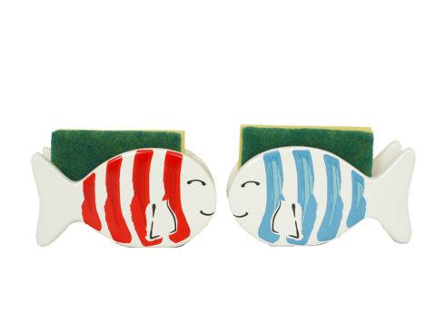 porta spugnetta a forma di pesce , con soggetto marino , accessori da cucina con pesci,door sponge shaped like a fish, with sea subject, kitchen accessories with fish,