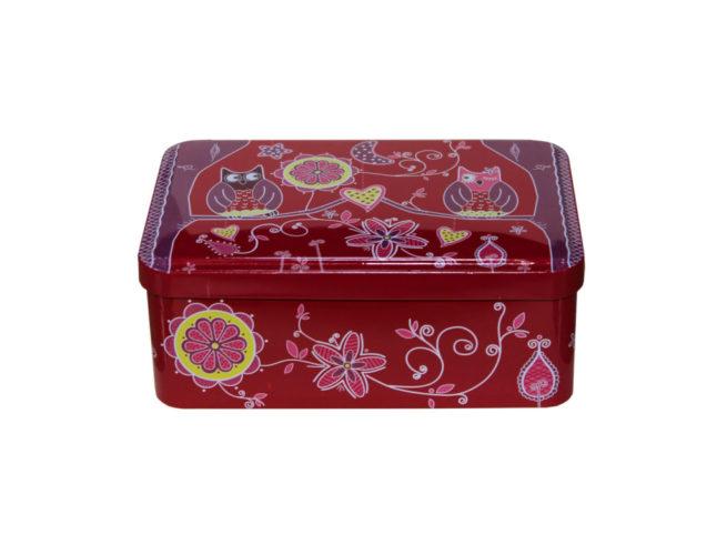 box cake with owls, box aluminum colored,scatola per dolci con civette, scatola in alluminio colorata