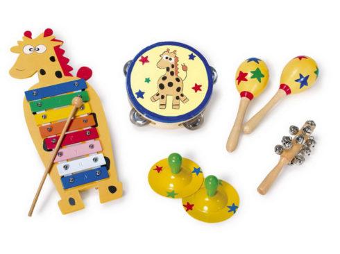 Musical instrument sets, xylophone, triangle, maracas, cymbals, tambourine, bells, xylofono,tamburello cembalo, piatti , triangolo, maracas,, campanelli