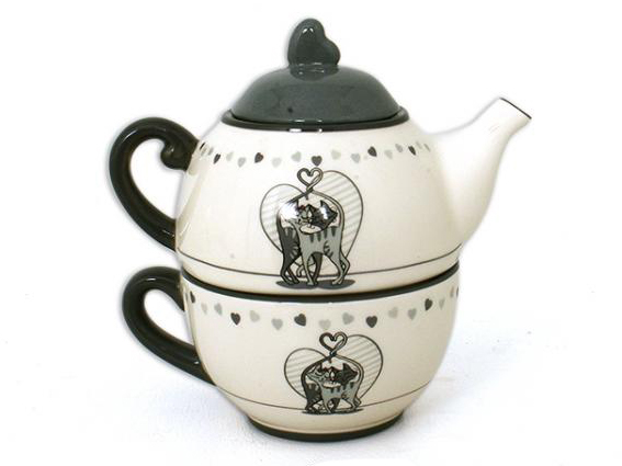tea for one gatto , prendere il tea in compagnia, ceramiche da cucina gatto, gatto in ceramica,tea for one cat, take tea in the company, kitchen ceramics cat, cat ceramic
