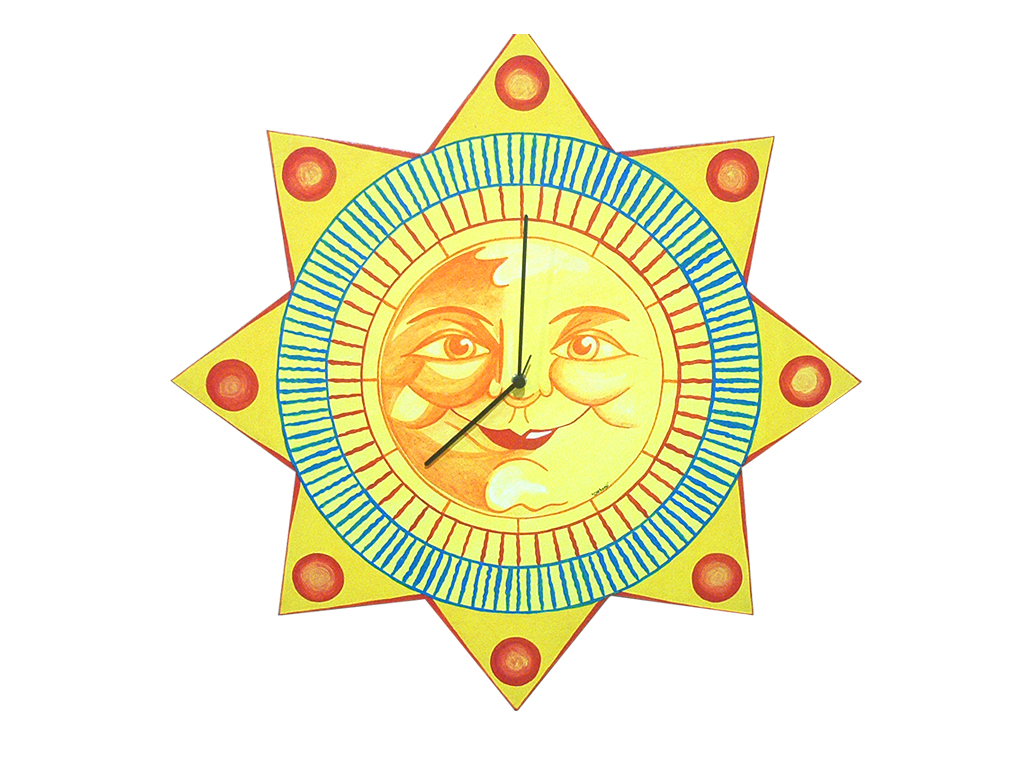 orologio artigianale sole, meridiana , stella,oggettistica con sole, disegno sole, creazioni dettagli cagliari,clock handicraft sun, sundial, star, objects with sun, sun design, creation details cagliari
