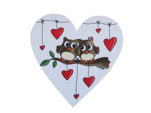 tappetino mouse con gufi e cuori, personalizzato, a forma di cuore , con foto, tappetino mouse artigianale, creazioni dettagli cagliari,mouse pad with owls and hearts, personalized, heart-shaped, with photos, mouse pad craft creations details cagliari,