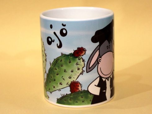ajo' asinello, fico d'india sardegna souvenir della sardegna, tazza asinello e fico d'india sardegna, souvenir mug Sardinia, donkey and the prickly pear