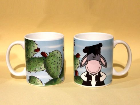 tazza asinello e fico d'india sardegna, souvenir mug Sardinia, donkey and the prickly pear