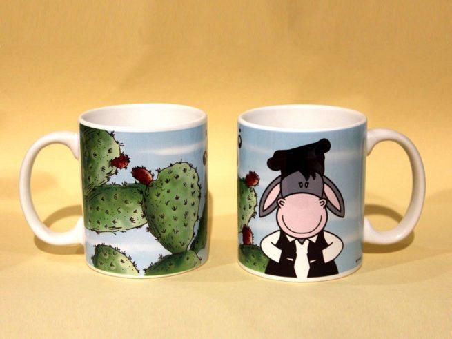 tazza asinello e fico d'india sardegna, souvenir mug Sardinia, donkey and the prickly pear