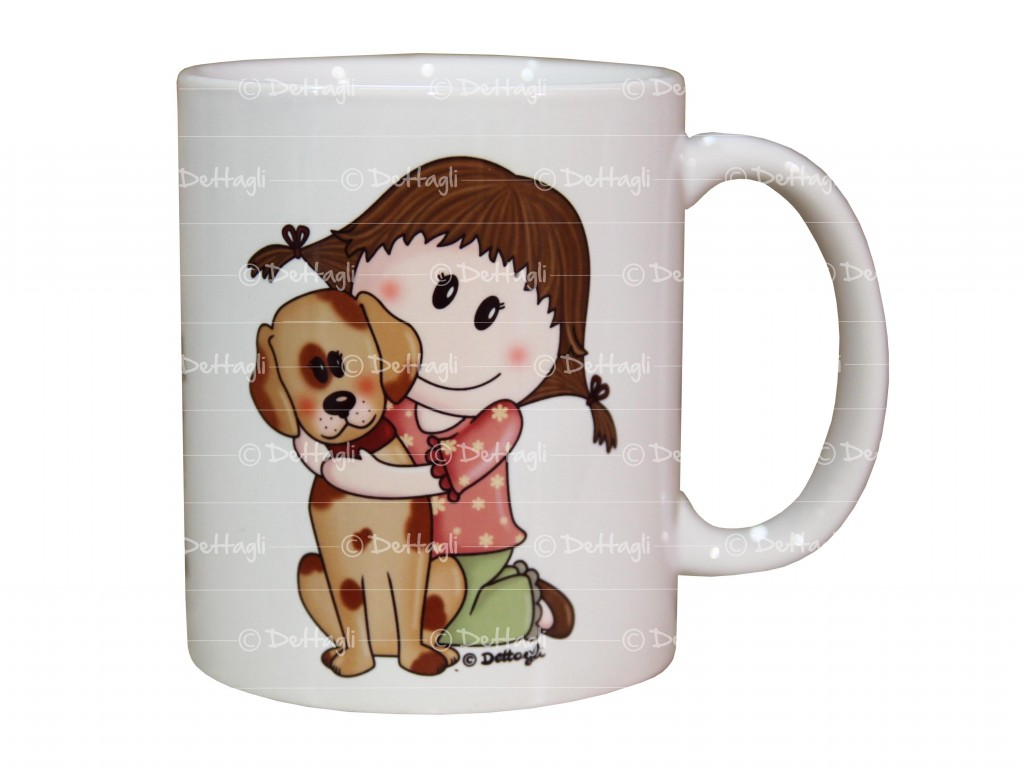 cup customizable baby and dog, name mug, cup breakfast for children, creations details cagliari,