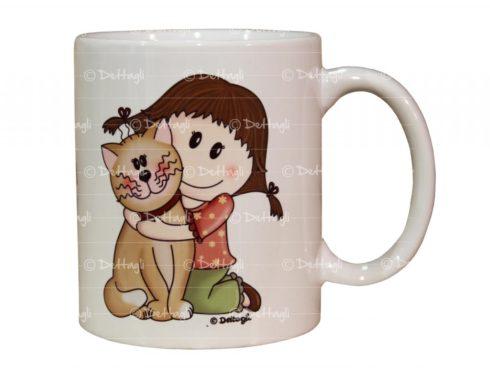 tazza personalizzabile bambina e gattino, creazioni dettagli cagliari,cup customizable baby and kitten creations details cagliari