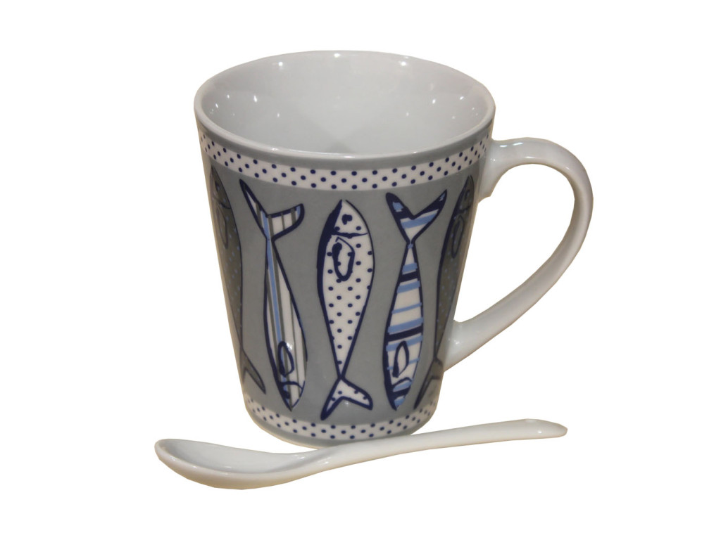 ceramic mug with spoon fish, tazza da colazione con pesciolini marini
