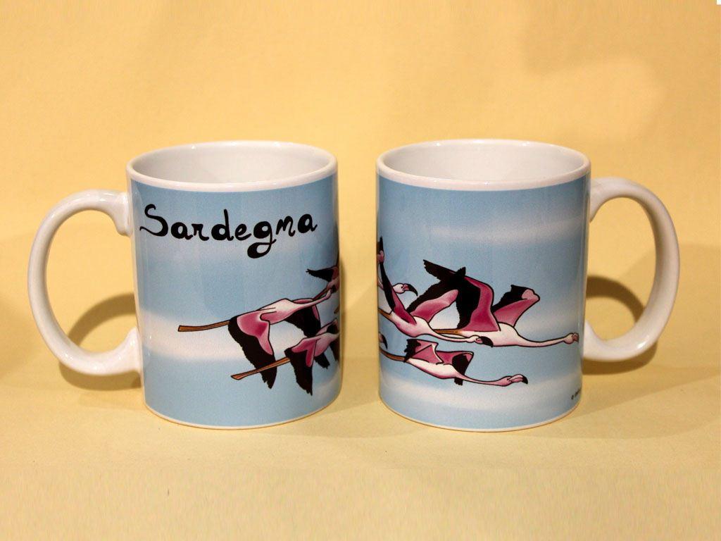 fenicottero rosa in volo, souvenir della sardegna, volo di fenicotteri, souvenir mug Sardinia, flamingo in flight, pink