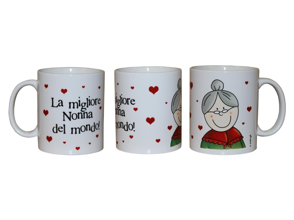 tazza da colazione con dedica alla nonna, tazze personalizzate , frasi spiritose e simpatiche per la nonna,creazioni dettagli cagliari,breakfast cup with a dedication to her grandmother, personalized mugs, witty and funny phrases for grandma, Creations details cagliari,