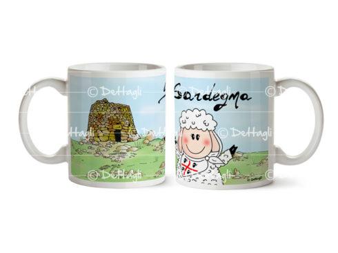 tazza pecora nuraghe 4 mori, souvenir della sardegna,souvenir mug Sardinia, sheep Nuraghe, flag 4 mori
