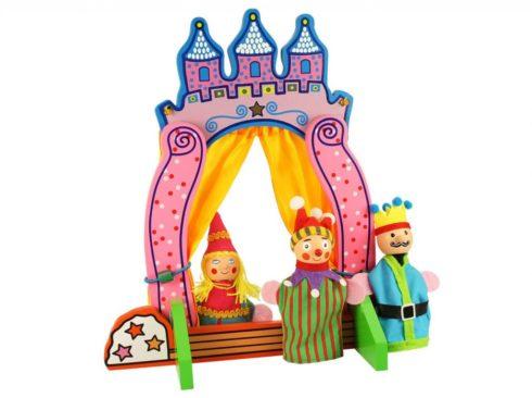teatrino in legno con marionette per le dita, c'era una volta, principessa, theater with wooden finger puppets, once upon a time, a princess, bigjtoys