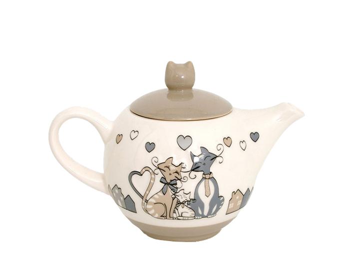 l'ora del te' the regalo per amanti del gatto, oggettistica con gatti, ceramiche da cucina con gatto,tea time 'the gift for cat lovers, gifts with cats, kitchen ceramics with cat