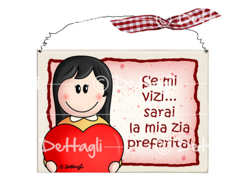 bimba scura con cuore, targhetta per porta con frasi simpatiche dedicate alla zia, targhetta personalizzabile con nome, creazioni ''Dettagli'' Cagliari,plate to the door with funny phrases dedicated to her aunt, plate personalized with name, creation'' Details'' Cagliari