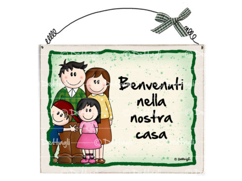 "famiglia con 2 figli, prodotto artigianale,creazione dettagli cagliari,targa targhetta personalizzabile con nome o con frasi simpatiche e spiritose,plate can be personalized with name or phrases funny and witty,creazioni ""dettagli"" cagliari"